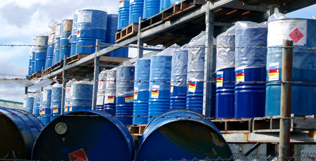Blue drums stacked